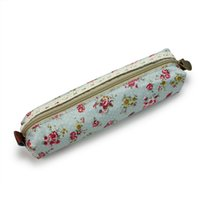 Wholesale Portable Vogue Lovely Green Girl Canvas Flower Lace Floral Dot Pencil Bag for School or Offices for Pen Coins or Small Things