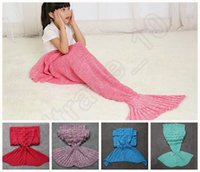 Wholesale Kids Mermaid Tail Fish Blankets cm Sleeping Bag Bedding Warm Soft Handmade Knitted Sofa Blanket colors OOA931