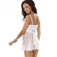 Wholesale 2017 Charming Sleepwear Sexy Lingerie Set Lace Nightwear Mini Dress Seduction Lover Erotic Lingerie