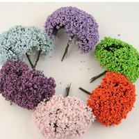 Wholesale 144PCS Colourful Floral Foam Bridal bouquet Flowers Stamens With Leaves decoracion boda artificial floresWedding Decoration