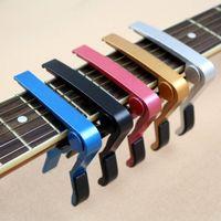 Wholesale 2016 fashion Top Quality Guitar Capo Made of Aluminium alloy Silver or Black Color Guitarra Capotraste Durable Guitar Parts