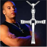Wholesale 2017 new arrival The Fast and Furious movie Dominic Toretto Classic Male Rhinestone CROSS Pendant Necklace