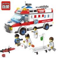 ambulance stretchers - ENLIGHTEN City Series Ambulance Nurse Doctor First Aid Stretcher Bricks Minifigure Building Block Set Toys Compatible With Legoe