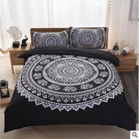 Wholesale Bohemia Bedding Sets New King Size Peacocks Elephant Printed Bedding Sets Geometric Quilt Cover Pillow Case Pillow Slip Sets