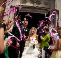Wholesale of Wedding Color Ribbon Wands Wedding Stream Ribbon Sticks Wands with Metal End Bells