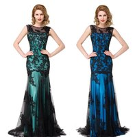 Wholesale 2017 Sexy New Sheer Tulle Sleeveless Mermaid Evening Dresses Black Lace Applique Formal Party Women Floor Length Evening Prom Gowns CPS015