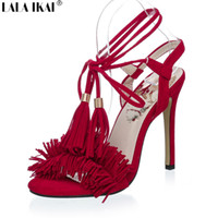 Wholesale LALA IKAI Sexy Tassel Women Sandals High Heels Fringe Sandals Lace up Dress Shoes for Women Gladiator Sandals XWF0388