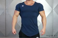 Wholesale High Quality Men s t shirt slim Fitness t shirt for jogging gym clothes male quick dry cotton irregular sweatshirts