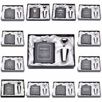 Grossiste - 1 Set personnalisé gravé flacon 6 oz en acier inoxydable avec blanc boîte noire anniversaire de la Saint-Valentin Cadeau Favors de mariage