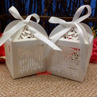 Wholesale Laser Cut Paper Birdcages - 50pcs Laser Cut Birdcage Wedding Favor Box in Pearl party show favor box birdcage candy box wedding favor and gifts
