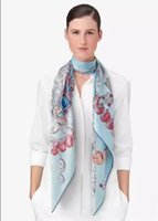 Wholesale New Spring Silk Yellow Sky Blue Orange Scarf Printed Brand Women Lady s Gift Natural Fabric High Quality Pashmina HOT Sell