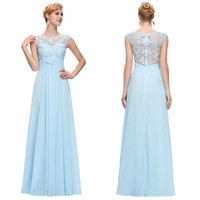 Wholesale 2017 Sky Blue Sheer Back Lace Applique Chiffon Bridesmaid Dresses A Line Crew Neck Ruffle Floor Length Prom Evening Gowns GK000093