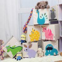 Wholesale Ins Cartoon Animal Folding Storage Box Children Clothes Toy Sundries Organizer Box Organic Cotton Oxford Cloth Toy Foldable Storage Bin