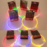 Wholesale Free DHL LED USB Rechargable Pet Dog Collars Flashing Luminous Adjustable Safety Light Nylon pet collar