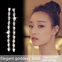 Stud american needle - New earrings female European and American temperament luxury water drop zircon long anti allergic tassel silver needle earrings jewelry