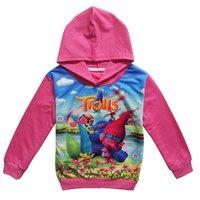 Wholesale Hot sales Girls Long Sleeve Trolls Hoodies Kids Trolls Long Sleeve Hoodies Children Spring Autumn Clothes TA116
