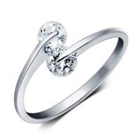 al por mayor joyería de las mujeres jóvenes-Joyería de moda Zircon Sparkly abierto anillo de oro blanco plateado multicapa diseño único anillos ajustables para las mujeres jóvenes Bijoux