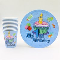 bamboo plates disposable - Baby st First Birthday Decor set disposable party paper cup plates supplies happy Birthday Fun Party Decoration