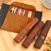 antique pencil boxes - Pencil Bags Treasure Map Pen Bag Antique Nautical Pencil Case Big Capacity Pencil Bag Soft Leather Boxes Women Men Kids Bag WX P01
