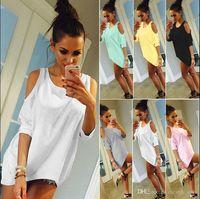 Tipos de pantalones cortos para las mujeres España-Verano Mujeres Tops Pluma impresa O-cuello sin tirantes camisas de hombro de manga corta T-shirt Tipo suelto
