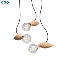 Wholesale Modern Edison Wooden Pendant Lights E26 E27 Socket Wood Light Holder Pendant Lamps For Living Room Excluding Bulbs