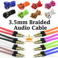 DC3.5mm banana jacks - 1M metal head mm AUX Audio Cable Braided Flat Woven Jack Stero Car Extention Cables Cord For Iphone PC MP3 Headphone Speaker
