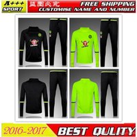 Wholesale Benwon Chelsea black football tracksuit high collar thai quality fluorescent full sleeve kits outdoor training sets sports tracksuit