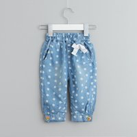 Wholesale Girls Lace Jeans Spring Style Kids Girl Dot Print Pants Baby Elastic Waist Bow Denim Trousers Children Clothing S153