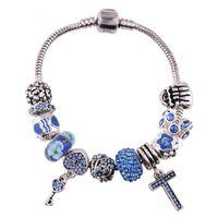 Wholesale The new alloy diamond cross pendant bracelet crystal glass diy bead bracelet for women bracelet jewelry