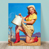 art print services - VINTAGE PINUP GIRL Gil ELVGREN Hand Painted Art Oil painting Poster Top Service Western Home Wall Decor High Quality Canvas Multi sizes
