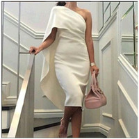 bamboo gown - 2017 Evening Dresses Straight Off the Shoulder Sleeveless One Shoulder Tea Length Evening Gowns White Simple