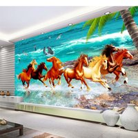 beautiful beach scenery - Home Decor Living Room Natural Art beach horse custom wallpaper beautiful scenery wallpapers
