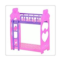 Wholesale 2016 Hot Cute Inch Plastic Double Dolls Bed Frame For Kelly Barbie Doll Dream House Bedroom Furniture Accessories Purple Pink Random
