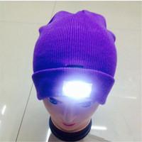 Wholesale LED Lighting Knitted Hats Women Men Camping Cap Travel Hiking Climbing Night Caps Hat Warm Winter Beanie Light Up Cap DHL shipping