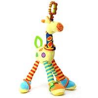 Grossiste-Haute qualité de peluche Baby Rattles Soft Baby Handing accessoires 46cm Cartoon Animal Teether Rattle Early éducative poupée girafe