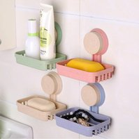 Wholesale hotsale bathroom accessories ecofriendly multifunctional wall mounted sucker cup wheat straw soap dish box tray storage holder