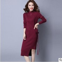 Wholesale New winter irregular cultivate one s morality quality pullovers women s clothing han edition long waist knitted dress