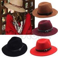Wholesale Fashion Design Women Warm Winter Wool Belt Fedora Cap Wide Brim Cowboy Hat