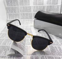 al por mayor tonos de marca para las mujeres-Gafas de sol Semi-Rimless unisex de las gafas de sol de los hombres de las mujeres de la manera Gafas de sol de la cortina del diseñador de la marca de fábrica de las lentes 10 color con toda la caja de la caja