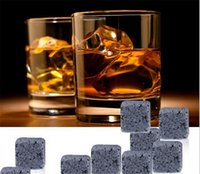 Wholesale Natural Whiskey Stones set Whisky Stones Cooler Whisky Rock Soapstone Ice Cube With Velvet Storage Pouch