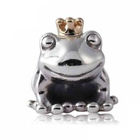 Authentique 925 Sterling Silver Bead Charm Cute Frog Prince Avec Or Crown Perles Fit Femmes Pandora Bracelet Bangle Diy Bijoux HKA3517