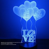 Wholesale Send Valentine s Gift Touch Four LOVE Colorful D Vision Light Energy Saving LED Table Lamp Creative Night Light Plug