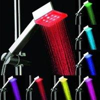 Wholesale 3 Colors Fading Bathroom Square LEDs Multi color Light Hand Showers Without Color Box TOP1673