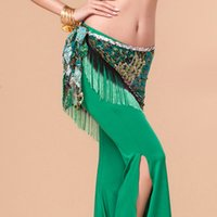 belly dancer scarf - 2016 New Belly Dance Shop Hip Scarf Peacock Costumes For Women Green Waist Chain With Tassel Waist Towel Bellydance Belly Dancer DQ8006
