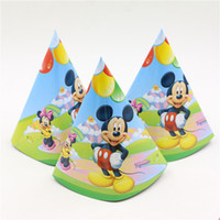 Wholesale mickey mouse kids boys birthday party decoration cartoon hat cap party paper tricorne supplies baby shower favors