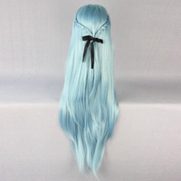 aqua fairy - Love Live Cosplay Anime SAO ALO Titania Yuuki Asuna Water Fairy Long Straight Aqua Blue Cosplay Full Wig Peluca perruque Ladys WIGS