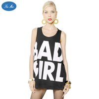 bad girl shirts - BAD GIRL letter printing female vest wide cuffs in the long section of the black shirt loose sexy SEA MAO