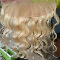 Precio de Frontales del cordón de la onda del cuerpo brasileño-Blonde Lace Frontal Cierre 13x4 pulgadas Frontales Blonde 613 # Lace Frontal Platinum Blonde Cuerpo brasileño cierre de onda Peruvian ear to ear 8A