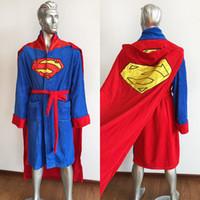 Wholesale 2017 Fashion Superman Mens Costume Bath Robe Comics Adult Fleece Bathrobe