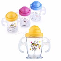 animal sippy cup - New Cute Durable Children Baby Straw Cup Drink Bottles Sippy Cups Handles ML